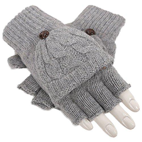 eipatu 手袋 レディース ニット 2Way 指切り ミトン 手袋 スマートフォン対応 おしゃれ 秋冬用 グローブ カバー付き手袋