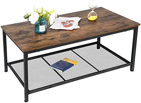 ZENY Coffee Table Living Room Furniture Sturdy Rustic Metal Frame