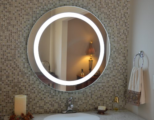 Wall Mounted Lighted Vanity Mirror LED MAM1D32 Commercial Grade 32'' Round LED by Mirrors and Marble