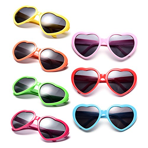 Neon Colors Party Favor Supplies Wholesale Heart Sunglasses (7 Pack Rainbow - Bulk In Colorful Sunglasses