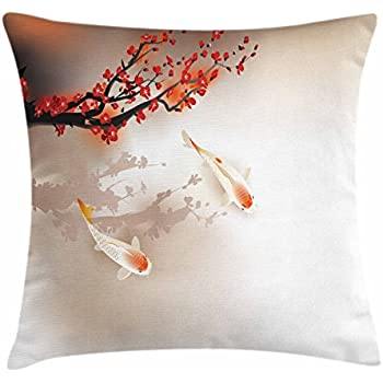 Lunarable Koi Fish Throw Pillow Cushion Cover, Sakura Branch and Leaves Animals in Small Body of Water Oriental Style, Decorative Square Accent Pillow Case, 18