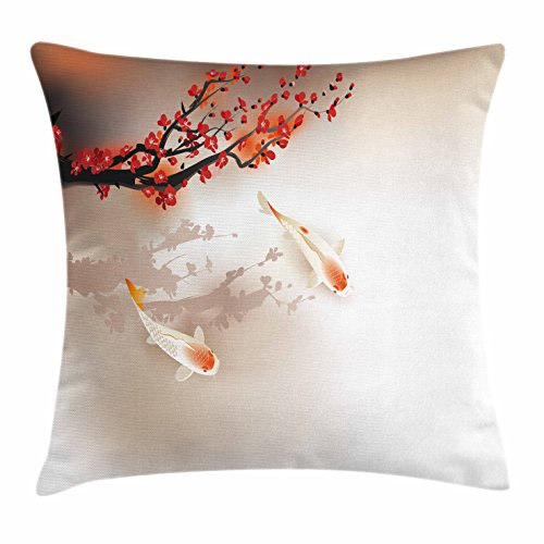 Lunarable Koi Fish Throw Pillow Cushion Cover, Sakura Blossom Petals with Creature Lovely Nature Orient, Decorative Square Accent Pillow Case, 18 X 18 Inches, Peach Black Red