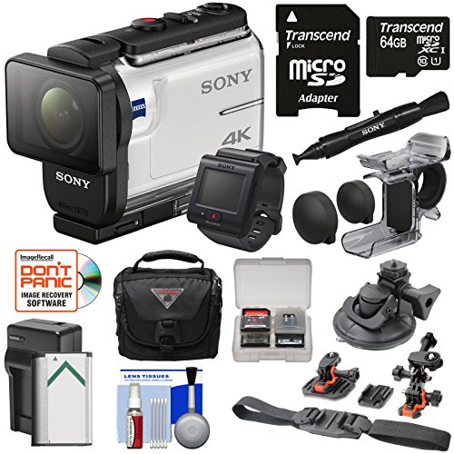 Sony Action Cam FDR-X3000R Wi-Fi GPS 4K HD Video Camera Camcorder & Live View Remote + Finger Grip + Suction Cup + Helmet Mount + 64GB Card + Battery & Charger + Case Kit by Sony