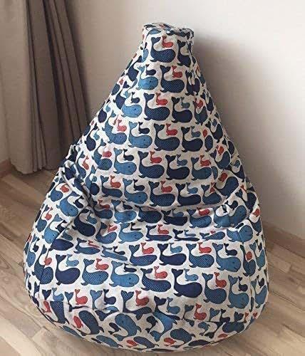 Amazon Com Large Beanbag With Blue Whale Natural Linen