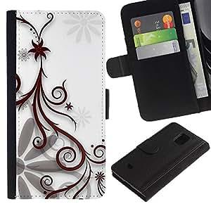 Billetera de Cuero Caso Titular de la tarjeta Carcasa Funda para Samsung Galaxy S5 Mini, SM-G800, NOT S5 REGULAR! / Design Floral White / STRONG