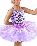 xas Baby Girls Toddler Kids Spaghetti Sequined Camisole Ballet Tutu Dress Ballerina Fancy Fairy Swan Sequins Costume Gymnastic Dancewear Leotard Purple 7-8