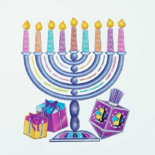 1 X Large Hanukkah Glitter Window Static Cling