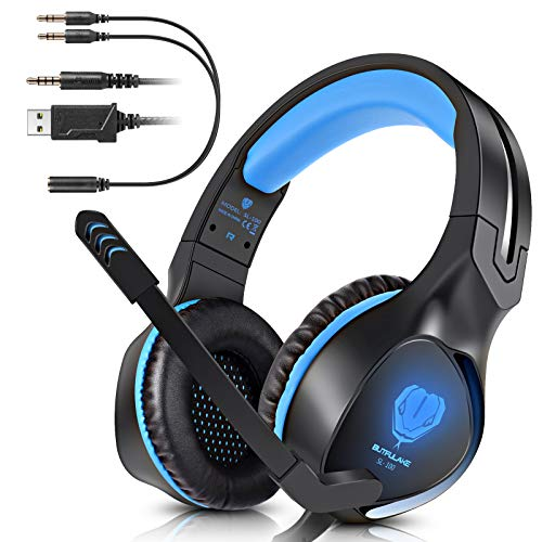 - BUTFULAKE Stereo Gaming Headset for PS4 Xbox One Nintendo Switch, Noise Cancelling 3.5mm Wired Adjustable Over-Ear with Mic, Volume Control and LED Lights for Laptop PC Mac iPad Smartphones (Blue)