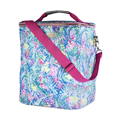 Lilly Pulitzer Insulated Wine Carrier Cooler with Zip Close, Top Handle, and Adjustable Strap (Mermaids Cove) from Lilly Pulitzer
