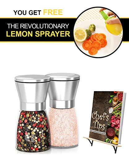 Stainless Steel Salt And Pepper Grinder & mill Set. Adjustable Coarseness. Huge Quality Of Shakers & Glass Material. New Elegant Way To Spice Up the Food You're Cooking. Easy Refilling. BPA Free.