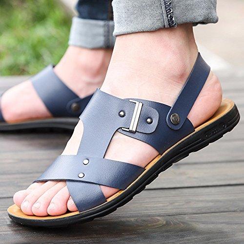 Il nuovo Uomini Tempo libero pelle sandali Spessore inferiore Uomini scarpa estate traspirante tendenza Spiaggia scarpa Uomini gioventù ,blu1,US=9,UK=8.5,EU=42 2/3,CN=44