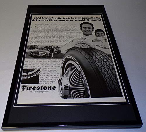 Al Unser 1971 Firestone Tires Framed 11x17 ORIGINAL Vintage Advertising Poster from Steel City Galleries