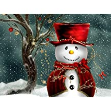 Merry Christmas Cute Snowman Wall Art Oil Paintings On Canvas 100% Hand-painted Modern Canvas Wall Art Decor Decorations (12x16inch)