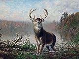 ON The Alert by Arthur Fitzwilliam Tait Animal Deer Autumn Swamp Marsh Horns Accent Tile Mural Kitchen Bathroom Wall Backsplash Behind Stove Range Sink Splashback One Tile 8'x6' Ceramic, Glossy