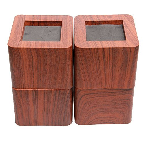 uyoyous New Wood Stripe Furniture Riser Up to 2200lbs Heavy Duty Sofa/Table/Bed Risers 4PCS Dark Brown