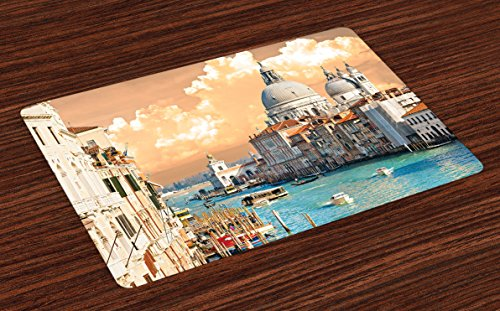 Ambesonne European Place Mats Set of 4, Grand Canal in Venice Italy Historic European Cityscape Town Tower Boho Print, Washable Fabric Placemats for Dining Room Kitchen Table Decor, Multicolor (Best Bars In Venice)