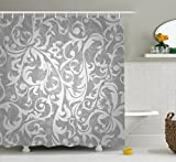 Designer Shower Curtains Silver Shower Curtain Set by Ambesonne, Victorian Style Large Leaf Floral Pattern Swirl Classic Artsy Abstract French Vintage Print, Fabric Bathroom Decor with Hooks, 70 Inches, Gray