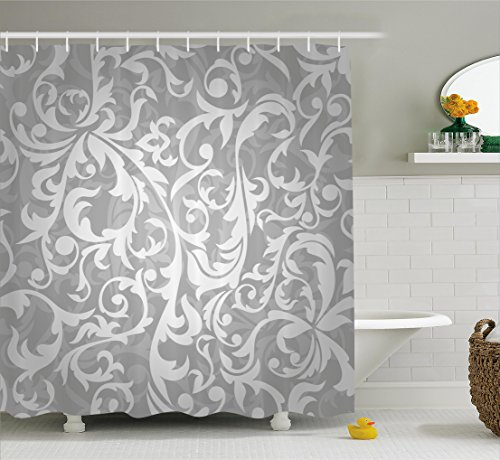 Large Floral Pattern - Ambesonne Silver Shower Curtain Set, Victorian Style Large Leaf Floral Pattern Swirl Classic Artsy Abstract French Vintage Print, Fabric Bathroom Decor with Hooks, 75 Inches Long, Gray