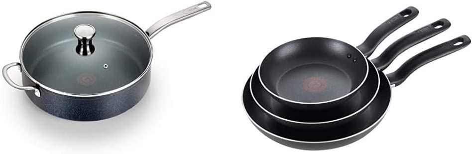 T-fal G10482 Heatmaster Nonstick Thermo-Spot Heat Indicator, 5-Quart, Black & Specialty 3 PC Initiatives Nonstick Inside and Out, 8