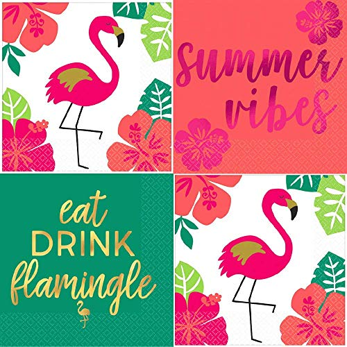 Summer Cocktail Napkins Tropical Flamingo Palm Gold Variety Pack 48 Total Paper Napkins