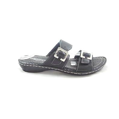 900e9753d55 Relaxshoe Black Leather Open-Toe Mule Sandal: Amazon.co.uk: Shoes & Bags