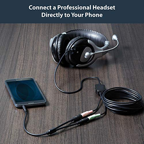 StarTech.com Headset Adapter, Microphone and Headphone Splitter - 3.5mm Male Aux to 3.5mm Female Audio & Mic Combo Jack Y Cable for Laptop / PC (MUYHSMFF)