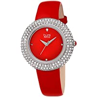 Burgi Women's BUR199RD Swarovski Crystal & Diamond Accented Silver & Fiery Red Leather Strap Watch