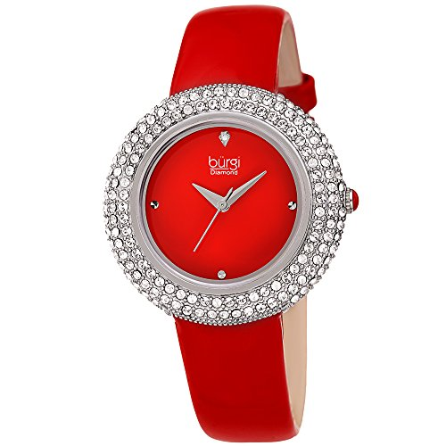 Crystal Red Strap Watch (Burgi Women's BUR199RD Swarovski Crystal & Diamond Accented Silver & Fiery Red Leather Strap Watch)