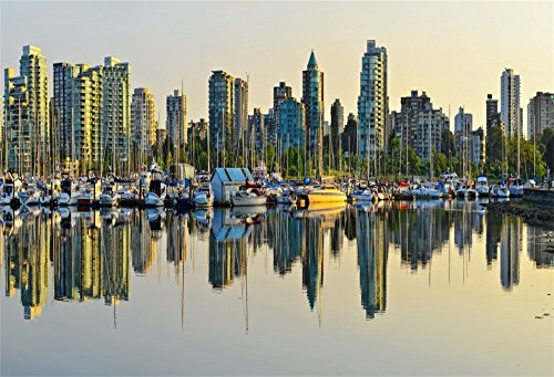 LFEEY 7x5ft Vancouver Skyline Photo Backdrop Sunrise Urban Buliding City Landscape Harbor Area Marina Bay Photography Background Photo Studio Props