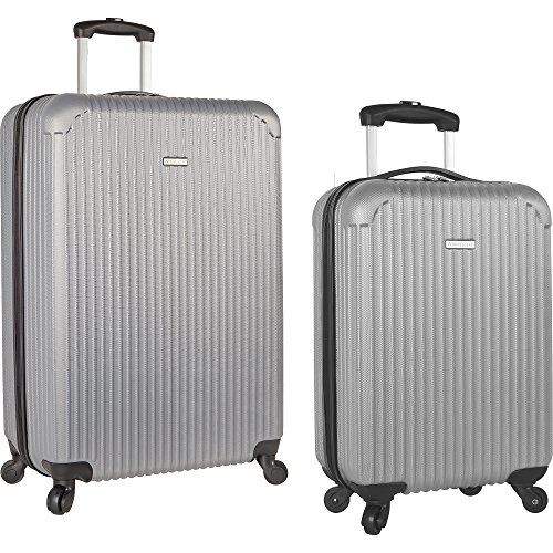 Travel Gear 19″ and 28″ Hardside Spinner Luggage Set with Carry on, Grey