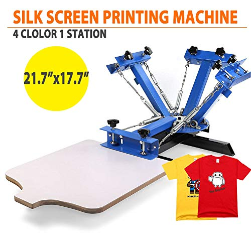 Commercial DIY Printing Press T-Shirt 1 Station Handmade Removable Pallet 4 Colour Silk Screen Equipment Press Kit Machine 17.7 x 21.7 Inch