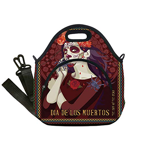 Insulated Lunch Bag,Neoprene Lunch Tote Bags,Day Of The Dead Decor,Dia de los Muertos Print Woman with Calavera Makeup Spanish Rose Art,Burgundy,for Adults and children