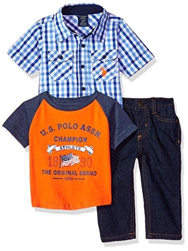 Elle Set - U.S. Polo Assn. Baby Boys Short Sleeve, T-Shirt and Pant Set, Blue Orange el Multi Plaid, 6-9 Months