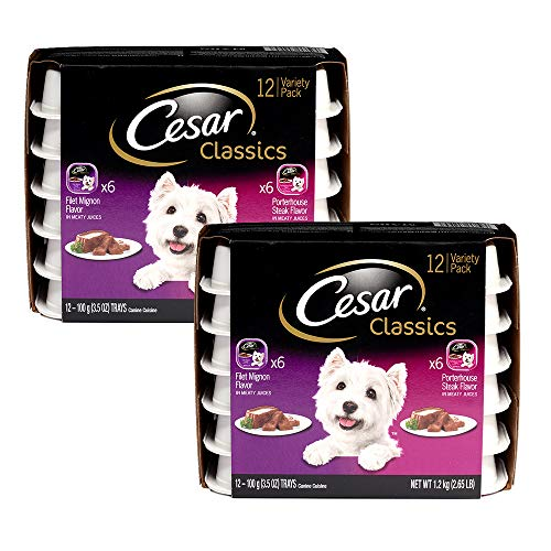 Cesar Canine Cuisine Wet Dog Food Filet Mignon & Porterhouse Steak Flavors Variety Pack, (24) 3.5 Oz Trays, Great Holiday Dog Gift
