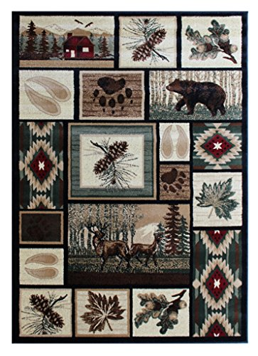 Masada Rugs, Area Rug Wildlife and Cabin Scene Lodge Design (5 Feet 2 Inch X 7 Feet 3 ()