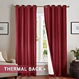 Bedroom Thermal Blackout Curtains, Energy Saving Lined Drapes for Living Room 84 inch