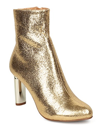 CAPE ROBBIN Women Metallic Foiled Heel Bootie - Dressy, Formal, Trendy - Oval Heel Ankle Boot - GF77 by Gold (Size: 8.5)