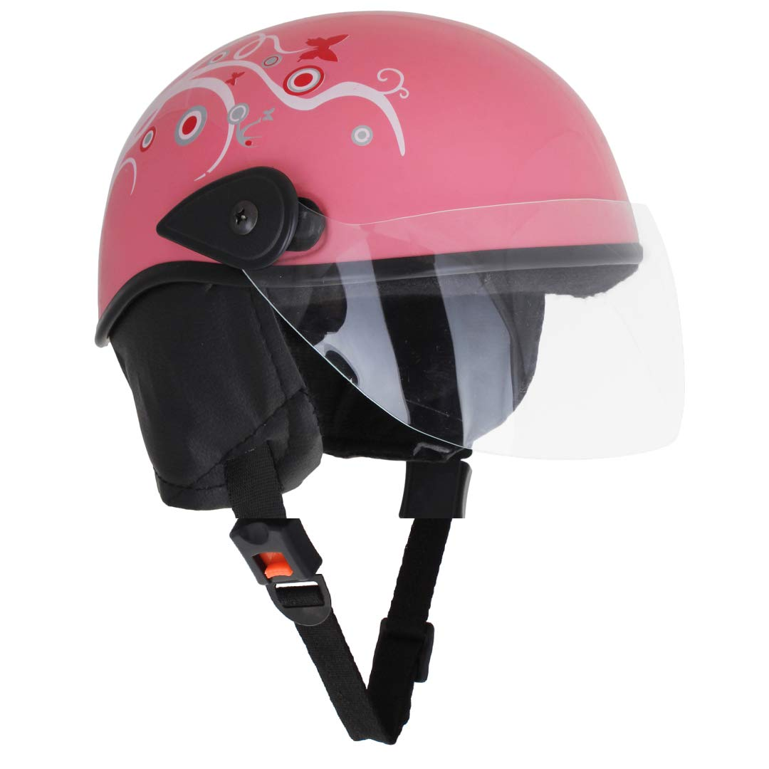 Sage square scooty half helmet for men women medium pink glossy sticker design 1 amazon in car motorbike