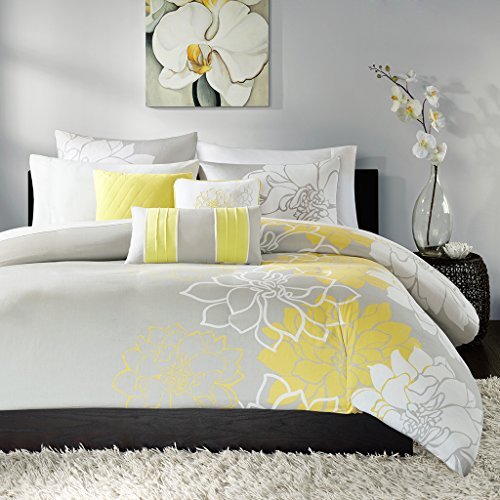 Madison Park Lola Duvet Cover Full/Queen Size - Yellow, Grey , Floral, Flowers Duvet Cover Set - 6 Piece - Cotton Sateen, Cotton Poly Crossweave Light Weight Bed Comforter Covers