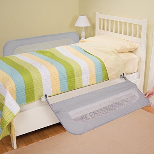 Barra de cama de seguridad para bebés, doble verano, gris