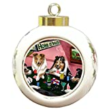 Sheltie Christmas Holiday Ornament 4 Dogs Playing Poker