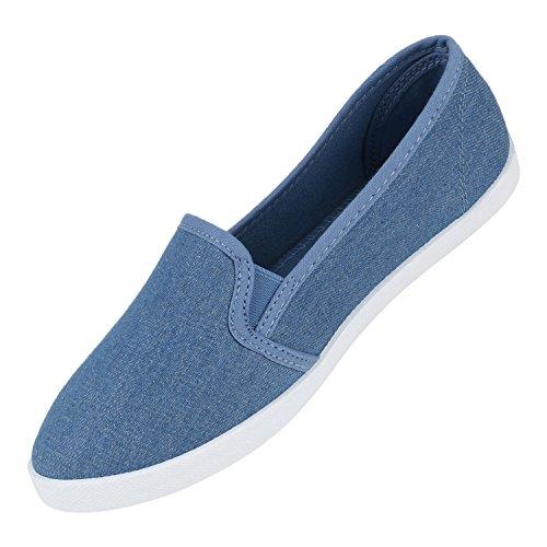 Stiefelparadies Bequeme Damen Slipper Slip-Ons Sportliche Schuhe Flats Stoffschuhe Prints Glitzer Freizeitschuhe Flandell Denim Hellblau