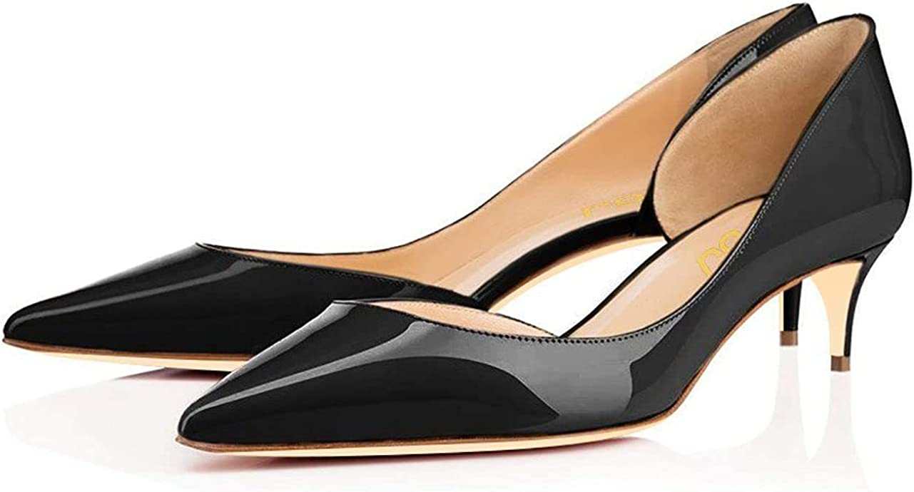 FSJ Classic D'Orsay Mid High Stiletto Heels Pumps Slip On Office Lady Dress Shoes for Women Size 4-15 M US