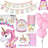 Unicorn Birthday Decorations Pack Supplies Tableware for 16 Guests, 1*Table Cloth/Cover, 16*Cups, 16*Plates, 16*Napkins, 1*Happy Birthday Banner, 1*Huge Size Unicorn, 10*Pink Balloons