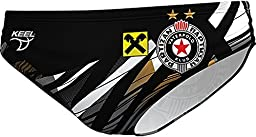 Keel - Partizan Water Polo Club Team Swim Suit for 2016-2017 Season - Men\'s/Boys Dual Layer Professional Players Athletes Swimming Brief Trunk (36 (L) Large)