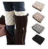 Jiuhexu 4 Pairs Women Winter Warm Crochet Knitted Boot Cuff Socks Short Leg Warmers (4 Pair-G)