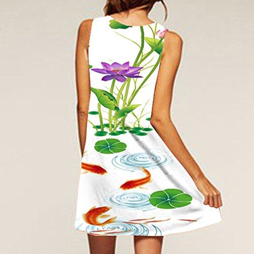Honghu Femme Rétro été Robe Bohême Casual Sans Manches Impression Top Tunique Dress de Plage Taille L Vert