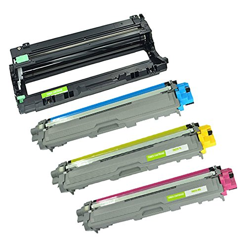 KCYMTONER 4 Pack Dr221 Drum Unit DR221-CL Compatible with TN225 TN225CY TN225YL TN225MG Cyan Yellow Magenta Color Toner Cartridge Set for Brother HL-3170CDW MFC-9340CDW MFC-9130CW 3 Toner + 1 Drum