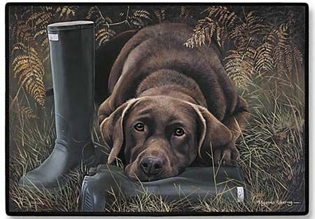 Chocolate Elbow Fiddlers Lab - Doormat - D20 Chocolate Lab with Boots - 18