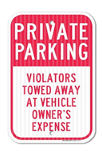 HAHUHU Red Private Parking Violators Towed Away Federal Metal Signs Home Decor Garage Wall Art 8 x 12 Aluminum Safety Tin Sign Gift